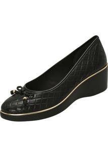 Sapato Anabela Em Matelass㪠- Preto & Dourado- Saltoazaleia