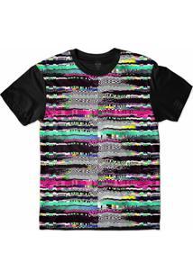 Camiseta Insane 10 Tecnologia Abstrata Glitch Triângulos Sublimada Azul