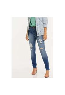 Calça Jeans Skinny Feminina Destroyed Biotipo