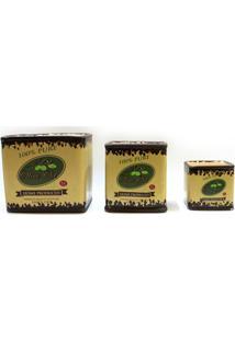 Conjunto De Cachepot Em Cerâmica Olive Oil Com 3 Peças