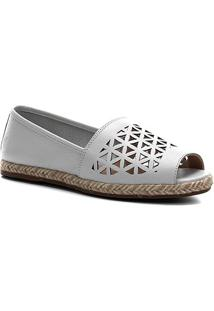 Sapatilha Shoestock Couro Laser Corda - Feminino-Branco