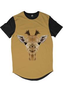 Camiseta Longline Bsc Cara De Girafa Sublimada - Masculino-Amarelo