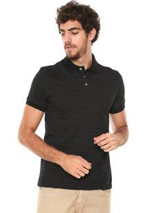 Camisa Polo Malwee Slim Listrada Preta