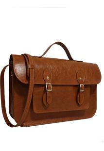 Bolsa Line Store Leather Satchel Média Couro Whisky Rústico. - Kanui