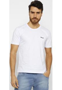Camiseta Com Bordado- Branca & Azul Marinho- Wranglewrangler