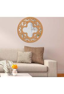 Escultura De Parede Wevans Mandala Abstrato, Madeira + Espelho Decorativo