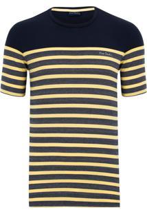 Camiseta Marinho Listras Amarelas
