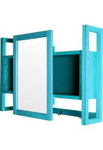 Armario Aereo C/ Espelho Troia Estrutura Azul 86Cm - 61429 - Sun House