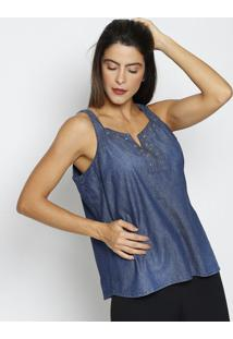 Regata Jeans Com Ilhoses- Azul Escuro & Prateada- Ththipton