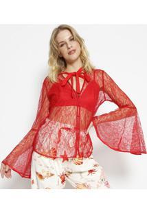 Camisa Floral Com Top- Vermelha- Charrycharry