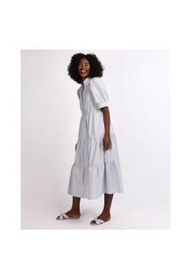 Vestido Feminino Mindset Midi Estampado Xadrez Vichy Com Recortes Manga Bufante Cinza