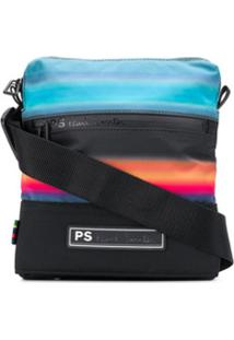 Ps Paul Smith Bolsa Carteiro Com Estampa De Listras - Preto