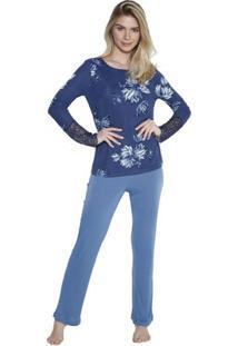 Pijama Inspirate De Inverno Feminino - Feminino-Azul