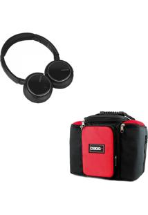 Kit Bolsa Térmica Dagg Fitness Vermelha G + Headphone Bluetooth Msx