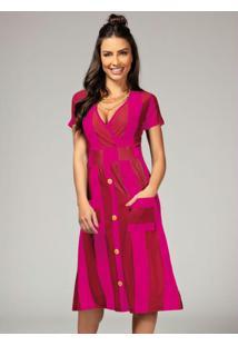 Vestido Listrado Rosa Com Bolsos