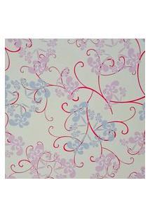 Papel De Parede Adesivo Floral Azul Com Rosa 15 Metros