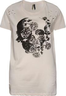 Camiseta Khelf Caveira Flores Rasgos Off White