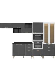 Cozinha Modulada 9 Peças Com Tampo E Nevada 5660Mf-Multimóveis - Branco Premium / Grafite Premium