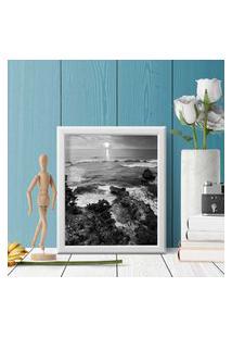 Quadro Decorativo Com Moldura Praia Preto E Branco Branco - 30X40Cm