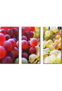 Quadros Decorativos Fruta Cachos Uvas 3 Peã§As - Unico - Dafiti