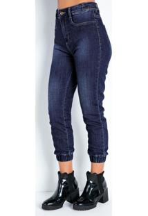 Calça Jeans Cropped Jogger Com Elástico Sawary