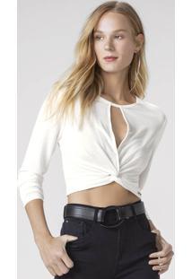 Blusa Cropped Com Detalhe De Nó