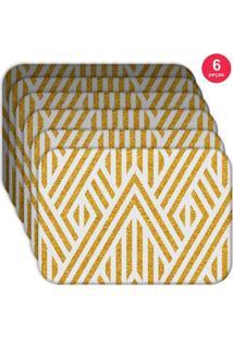 Jogo Americano Love Decor Wevans Abstract Yellow Kit Com 6 Pçs