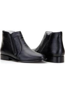Bota Capelli Boots Em Couro Ziper Lateral Masculina - Masculino-Preto