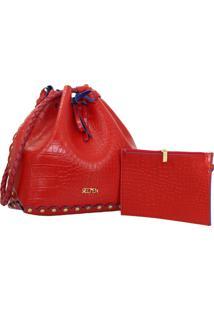 Bolsa Selten Saco Ilhã³S Com Necessaire Vermelha - Vermelho - Feminino - Dafiti