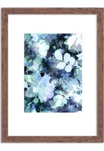 Quadro Decorativo Azul Abstrato Branco Madeira - Grande