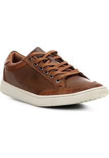 9d46491699 Sapatênis Couro Shoestock Recortes Masculino - Masculino-Marrom