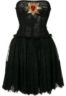 Dolce & Gabbana Vestido Tomara Que Caia Em Tule Com Bordado - Preto