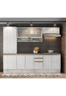 Cozinha Completa 8 Portas 3 Gavetas Itália A2196 Casamia Snow/Snow