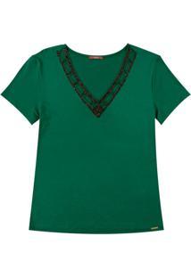 Blusa Com Decote V E Bordado Verde