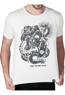 Camiseta Caveira Mexicana Keep The Soul Alive Masculina - Masculino-Branco