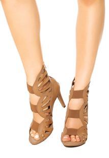 Sandália Dakota Gladiadora Vazada Elástico Frontal Bege