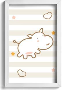 Quadro Infantil Quartinhos Hipopótamo Marrom 22X32Cm Moldura Branca - Tricae