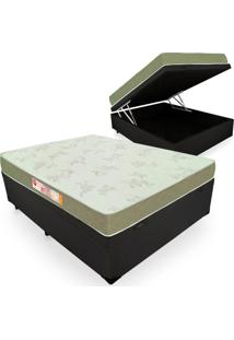 Cama Box Com Baú Casal + Colchão De Espuma D33 - Castor - Sleep Max 138X188X60Cm Preto