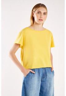 Tshirt Malha Básica Decote Rib Sacada Feminina - Feminino-Amarelo