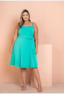 Vestido Crepe Maresias Com Contas Verde Plus Size