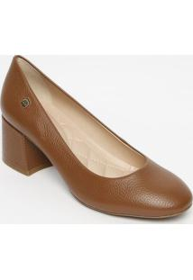 Sapato Tradicional Em Couro Com Tag- Marrom Claro- Sloucos E Santos