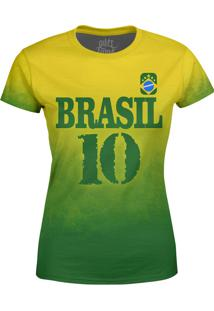 Camiseta Estampada Baby Look Over Fame Brasil Verde
