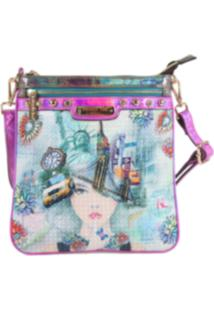 Bolsa Nicole Lee New York Print Crossbody Rosa