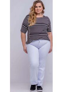 Calça Reta Almaria Plus Size Shyros Jeans Branco