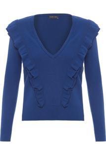 Blusa Feminina Tricot Babados - Azul