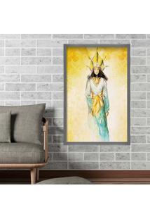 Quadro Love Decor Com Moldura Golden Woman Grafitti Metalizado Grande
