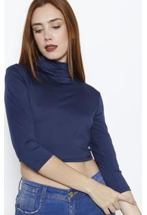 Blusa Cropped Lisa - Azul Marinho - Lanã§A Perfumelanã§A Perfume