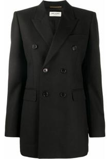Saint Laurent Blazer De Lã Com Abotoamento Duplo - Preto