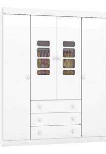 Roupeiro Lis 4 Portas 3 Gavetas Branco Alto Brilho Móveis Canaã