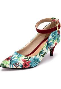 Sapato Scarpin Com Laço Salto Alto Fino Em Tecido Floral Branco